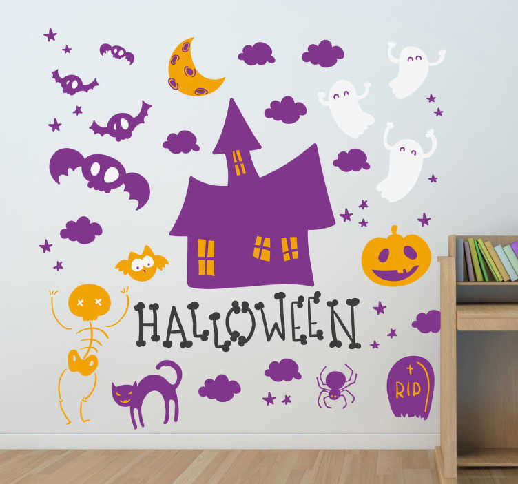 TenStickers. Halloween kleurrijke sticker. Hele vrolijke maar ook griezelige Halloween sticker. In deze sticker ziet u een spookhuis met verschillende attributen die bij Halloween passen.