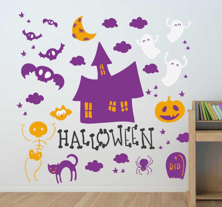 TenStickers. Autocolante decorativo símbolos do Halloween. Autocolante decorativo com os míticos símbolos do Halloween: o esqueleto, o gato, o morcego, a casa...