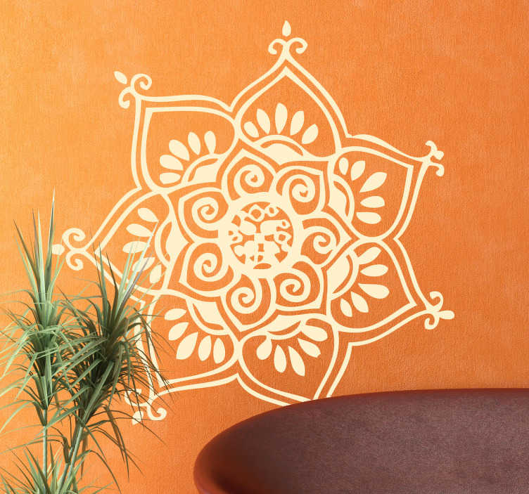TenStickers. Seven Petal Flower Wall Decal. Mandala Wall Stickers - Asian inspired design to fill your home with peace and harmony. Personalise your bedroom or living room with this beautiful floral wall decal inspired by similar oriental styles.