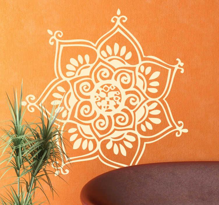 TenStickers. Naklejka siedmiorożna mandala. Naklejka dekoracyjna inspirowana buddyjskim wzorem, będącym symbolem życia, harmonii i doskonałości. Piękne wypełnienie domowego pustego miejsca na ścianie.
