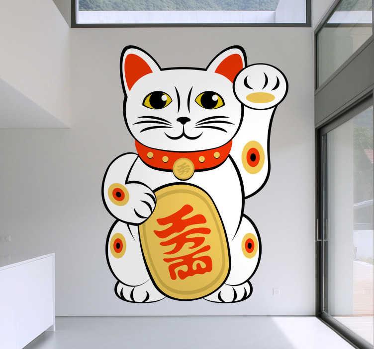 TenStickers. Naklejka dekoracyjna chiński kot. Naklejka dekoracyjna przedstawiająca obrazek białego kota, trzymającego chiński napis i machającego do nas łapką.