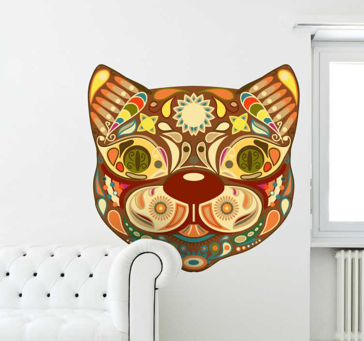 TenStickers. Sticker kleurrijke kat. Muursticker met een voorstelling van een gekleurd hoofd van een poes. Dan is dit de geschikte wanddecoratie voor u.