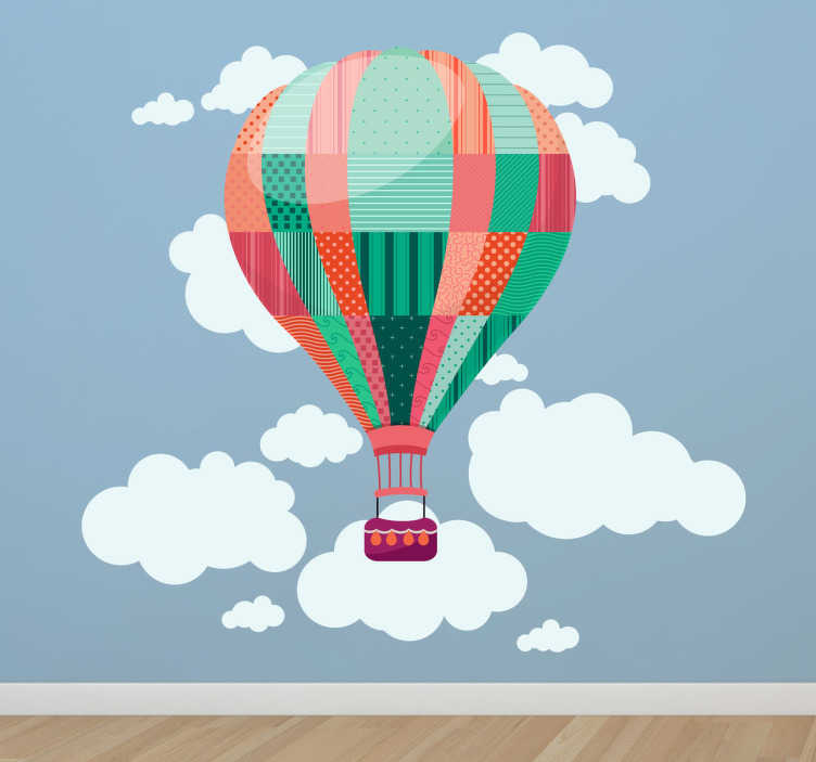 TenStickers. Hot Air Balloon Wall Sticker. Amazing hot air balloon wall sticker for children, illustration of a balloon flying past clouds in the sky. Design from our collection of cloud wall stickers. This patchwork kids wall decal is sure to inspire the little ones' imaginations and put a smile on their face.