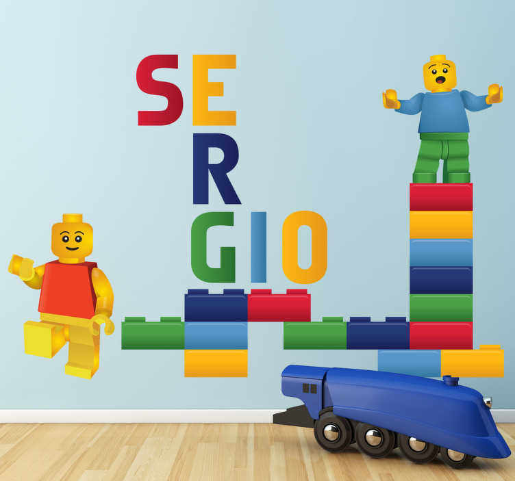 TenStickers. Naklejka z imieniem lego. Wyjątkowa naklejka na ścianę inspirowana klockami lego, z miejscem na dowolne imię.