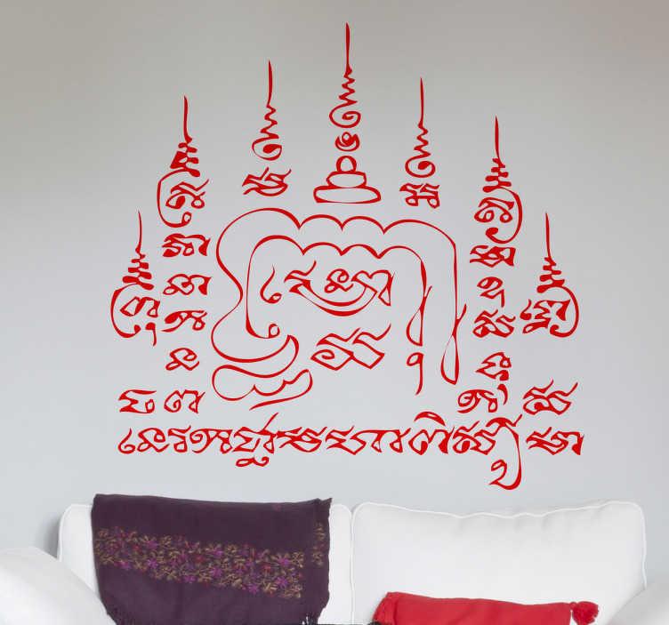 TenStickers. Naklejka dekoracyjna tajskie ornamenty. Naklejka dekoracyjna na ścianę nawiązująca do klimatów tajlandzkich światyń wprowadzi odrobine egzotyki do każdego domu.