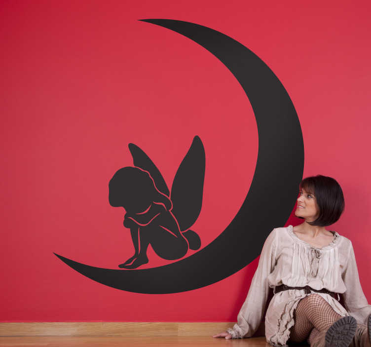 TenStickers. Night Fairy Wall Sticker. Fairy Tale Wall Stickers - Monochrome silhouette design of a fairy sitting on a crescent moon, perfect for decorating your child's bedroom with a magical fantasy theme that is sure to bring a smile to their face. Available in 50 different codes.