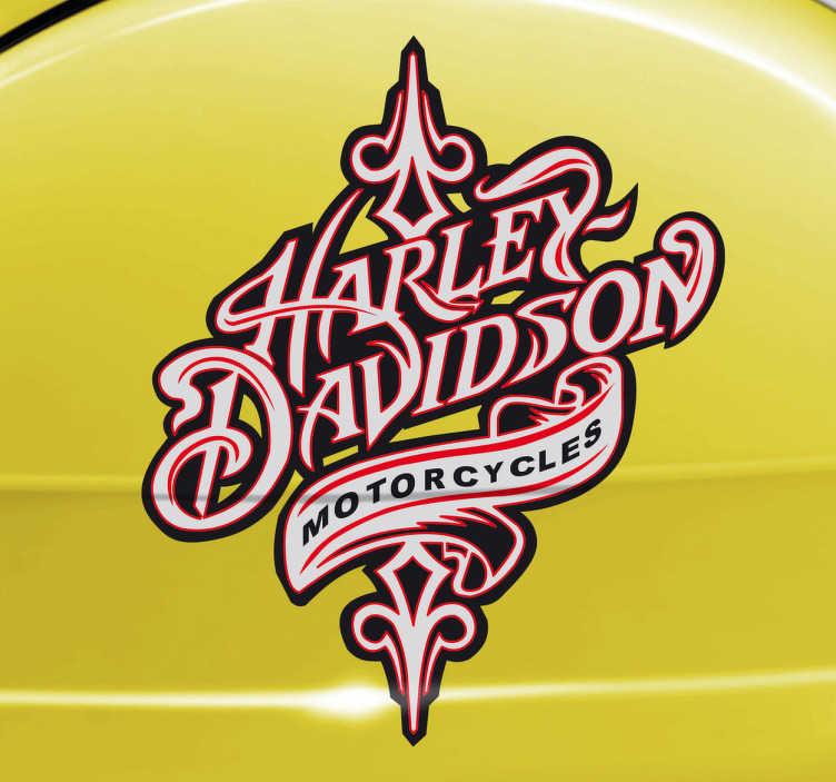 TenVinilo. Vinilo decorativo Harley vintage. Si eres fanático de esta marca de motocicletas norteamericanas te gustará este detallado adhesivo. Un vinilo decorativo perfecto para personalizar tus accesorios de motero.