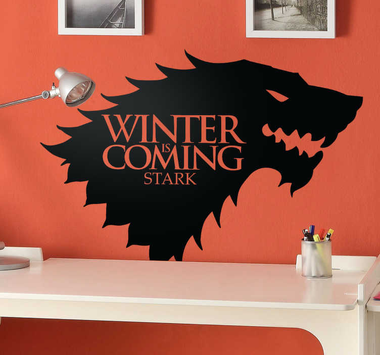 TenStickers. Sticker Game of Thrones House of Stark. Deze sticker omtrent het logo met de tekst van The House of Stark. Ideaal terwanddecoratie voor echte fans!