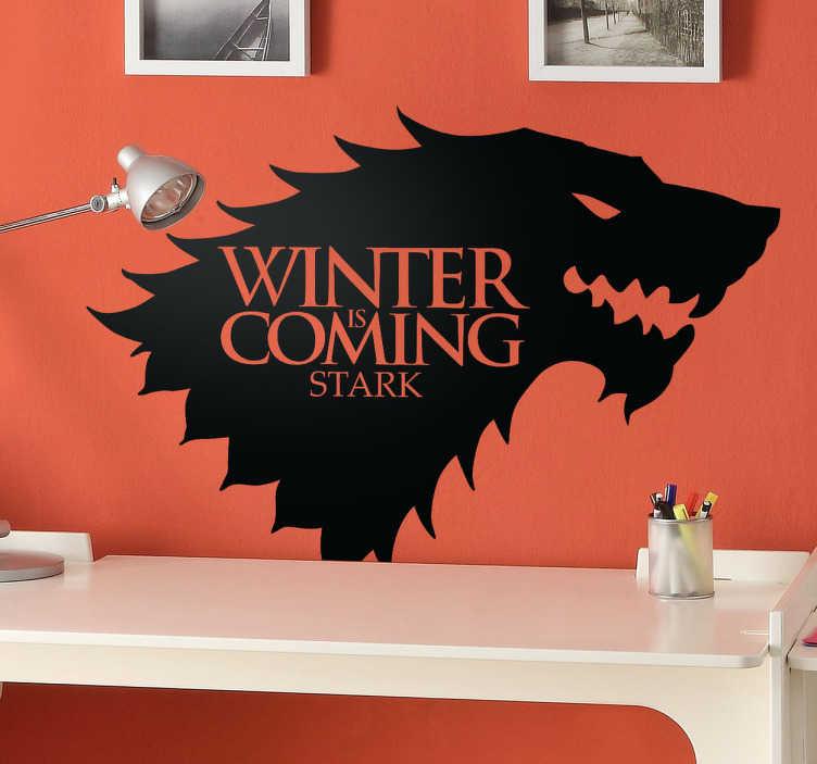 TenStickers. House of Stark Wandtattoo. Winter is coming. Dekorieren Sie Ihr Zuhause mit diesem bekannten Motiv der Serie Game of Thrones als Wandtattoo