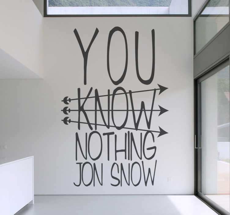 TenStickers. Jon Snow Wall Sticker. Wall Stickers - Original design inspired by the hit HBO TV series Game of Thrones.