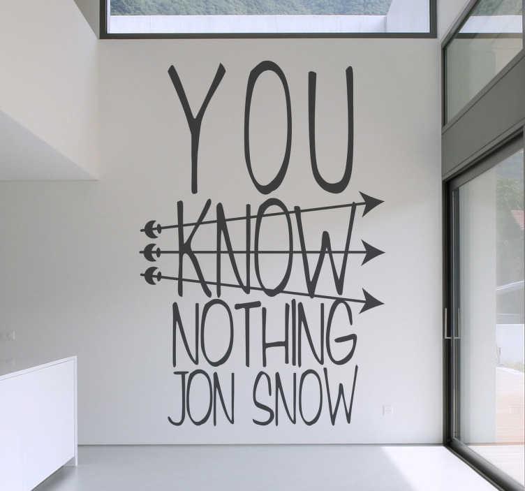 """TenStickers. Naklejka inspirowana """"Grą o Tron"""". Naklejka na ścianę przedstawiająca napis 'You know nothing Jon Snow', przez który przedzierają się trzy strzały."""