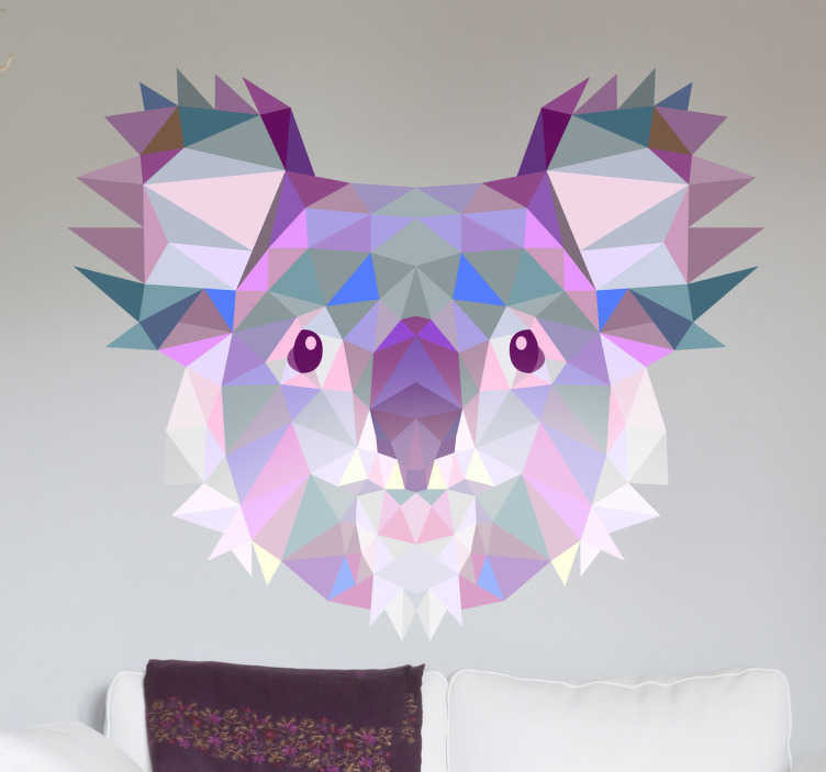 TenStickers. Stencil 3D koala geometrico. Disegno adesivo in cui viene illustrato in tonalità fredde come il verde o il viola questo simpatico marsupiale australiano.