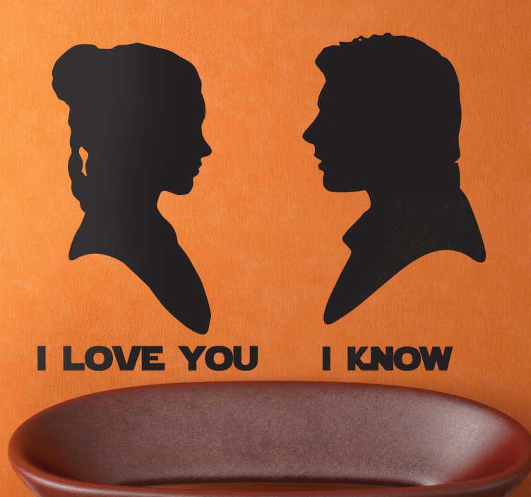 TenVinilo. Vinilo decorativo Leia y Han Solo. Curioso adhesivo con la silueta de dos protagonistas de la Guerra de las Galaxias declarando su amor.