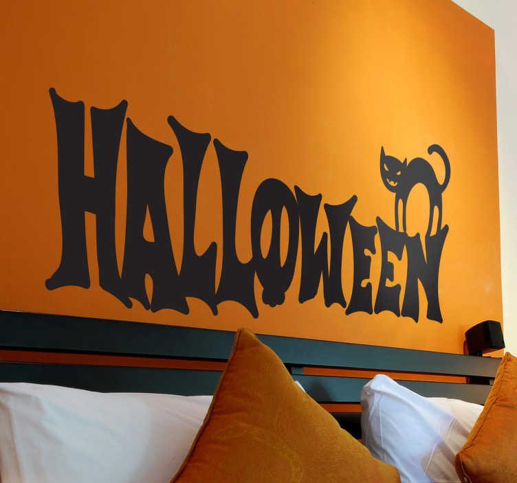 TenStickers. Sticker logo Halloween. Célébrez Halloween en décorant votre intérieur avec cet orignal sticker monochrome orné d'un chat noir.