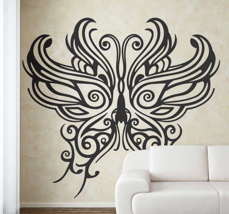 TenStickers. Tribal Butterfly Mask Decal. Decals-Distinctive and original stylish illustration. Elegant and captivating feature.  Suitable for decorating walls, furniture, appliances and more.