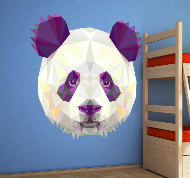 TenVinilo. Vinilo decorativo panda geométrico. Adhesivo con un retrato frontal realizado por freepik de este característico oso asiático.