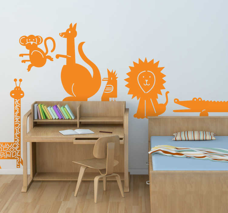 TenStickers. Kids Wildlife Animal Decals. Kids Wall Stickers - Turn the bedroom walls into a jungle with this collection of animal stickers.