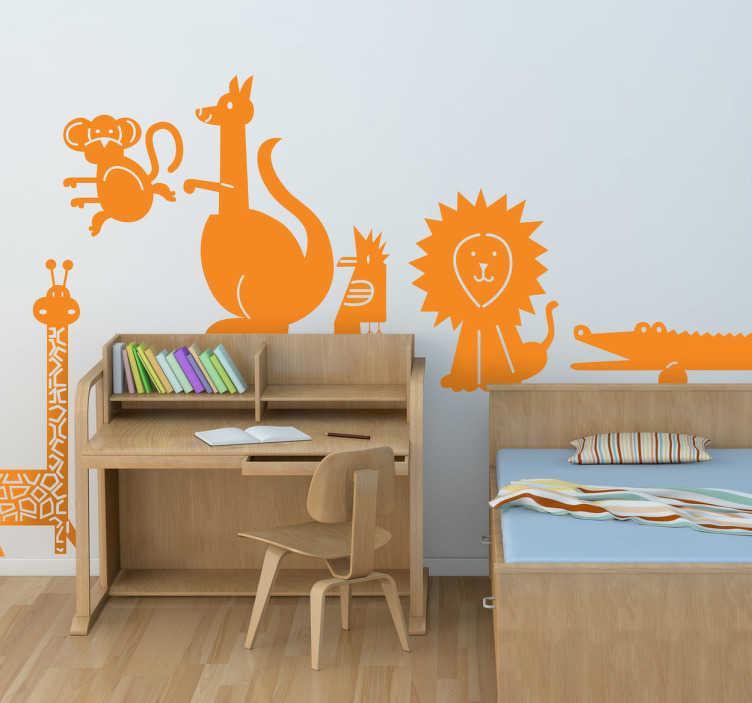 TenStickers. Sticker enfant faune. Une girafe, un éléphant, un lion, un crocodile, un kangourou et un singe... Transformez la chambre de votre enfant en jungle avec ces originaux stickers d'animaux.