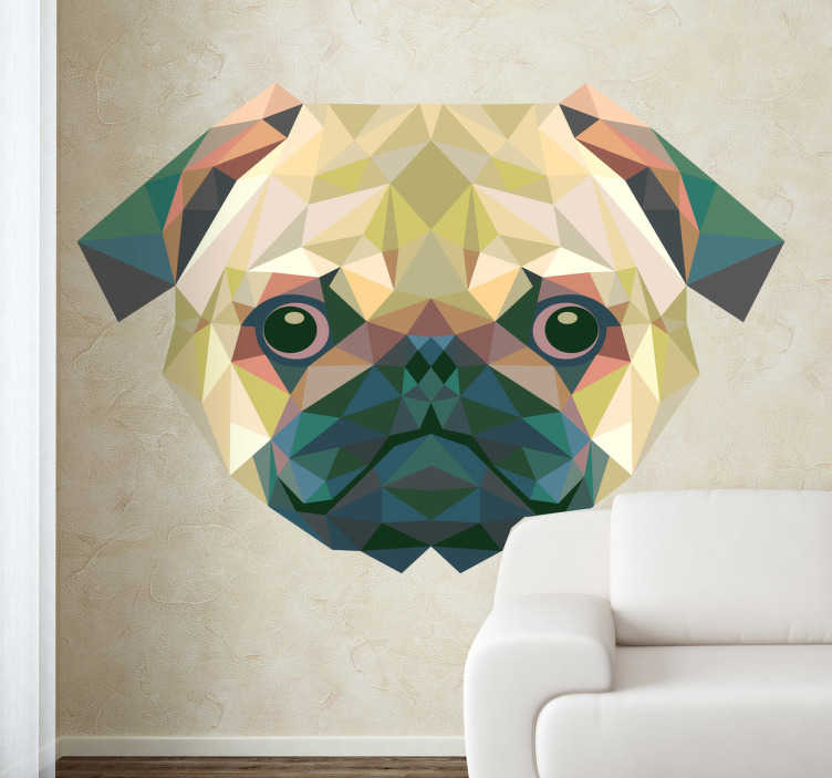 TENSTICKERS. 幾何学的なパグデカール. Pug壁のステッカー -  freepikからのpugの顔の幾何学的なデザイン。パグ愛好家の壁を飾る独特の犬デカール。