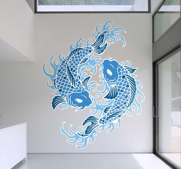 TenStickers. Oriental Pisces Wall Sticker. Modern and unique star sign wall sticker showing two oriental style fish circling each other to create the symbol for Pisces. This pair of blue koi fish with white eyes are sure to create an awesome look for your bedroom, dining room or living room while showing off your love for astrology.