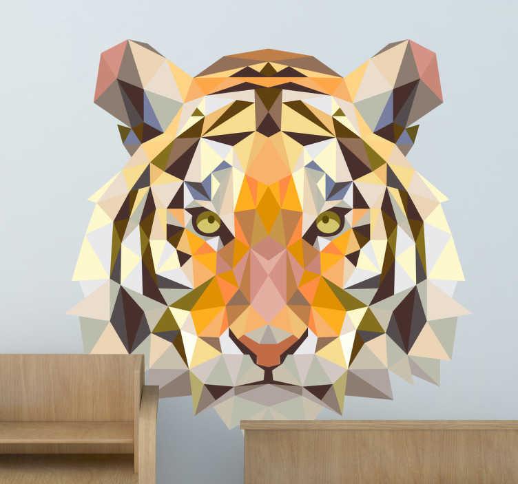 TenVinilo. Vinilo decorativo retrato tigre geometría. Decora tu hogar y estancias con este adhesivo artístico del rey de la jungla. Diseño geométrico con el rostro de un tigre feroz.