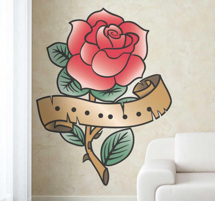 TenStickers. Roos tattoo sticker. Old school roos tattoo sticker met een tak en bladeren! Je ziet en oud lintje eromheen! Heel leuk voor in de woonkamer of slaapkamer!