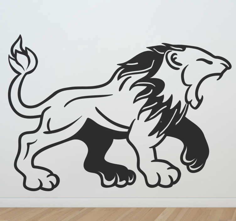 TenStickers. Medieval Lion Roar Decal. Decals - Medieval style illustration of a roaring lion. Suitable for decorating walls, furniture, appliances, devices and more.