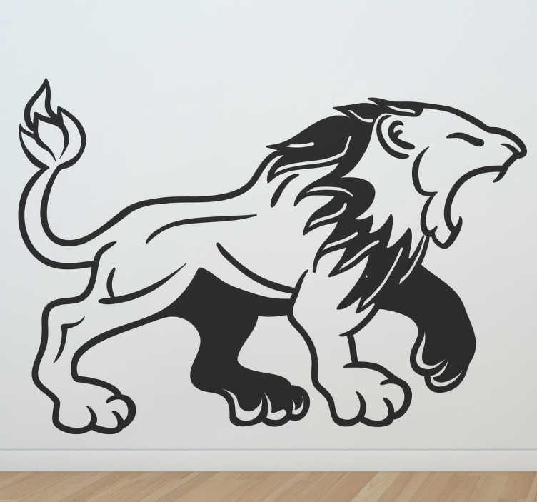 TenStickers. 중세 사자 포효 데칼. 데칼-활활 타오르는 사자의 중세 스타일 그림. 벽, 가구, 가전 제품, 장치 등을 장식하는 데 적합합니다.