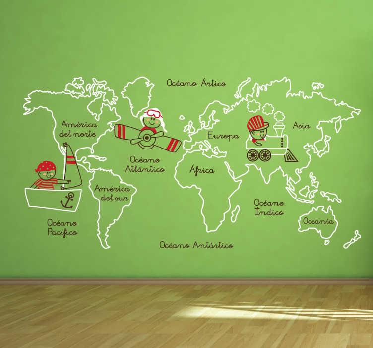 TenVinilo. Vinilo infantil ilustración continentes. Decora las paredes de la habitación de tu hijo con este espectacular adhesivo. Indícanos los colores que quieres en el apartado observaciones de la pasarela de compra.