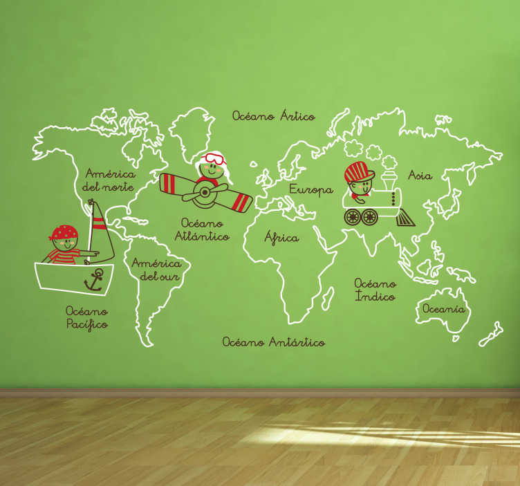 Vinilo infantil ilustración continentes