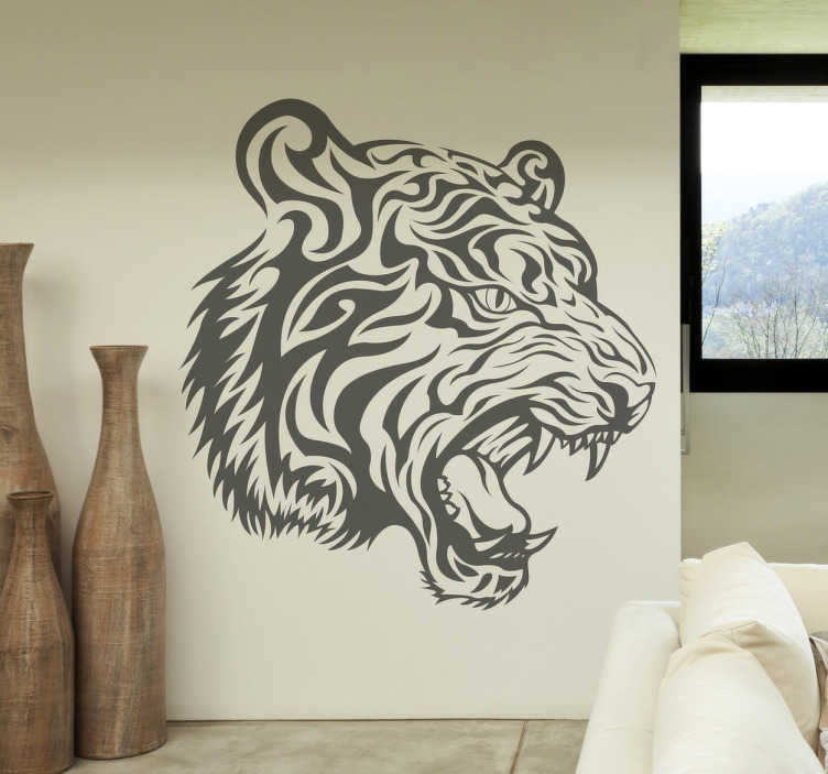 TenStickers. Fierce Tiger Decal. Decals - Striking illustration of a fierce tiger. Distinctive feature. Suitable for decorating walls