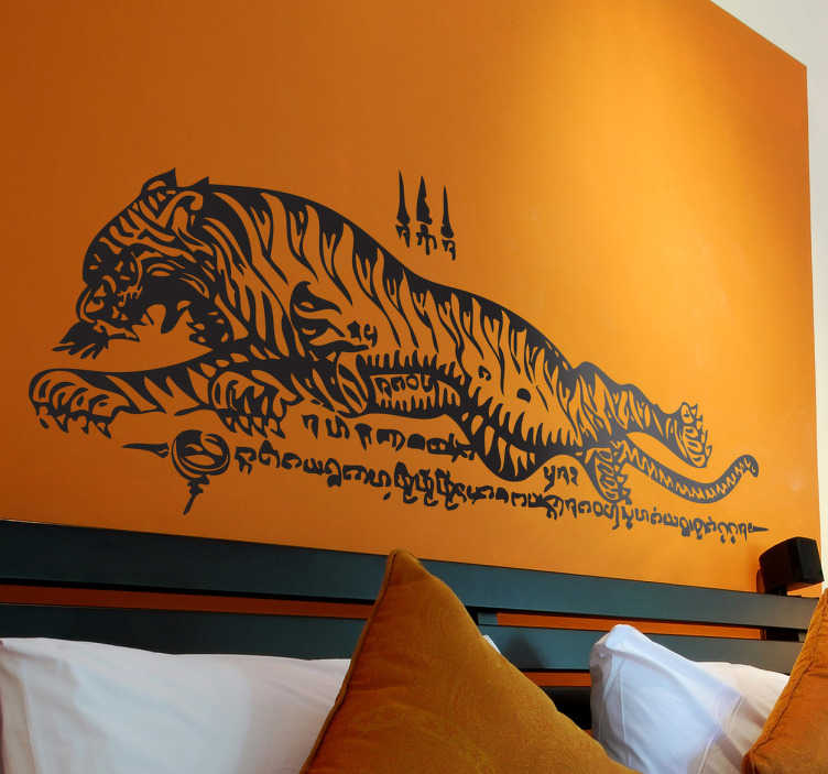 TenStickers. Thai Tiger Wall Sticker. Wall Stickers - An Asian oriental Thai style illustration of a tiger. Distinctive feature for your home or business.