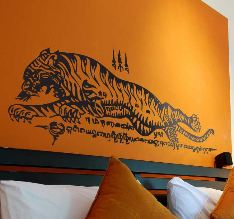 TenStickers. Sticker tigre thaï. Personnalisez votre décoration avec ce félin sur sticker d'inspiration orientale en caractères thaïlandais.