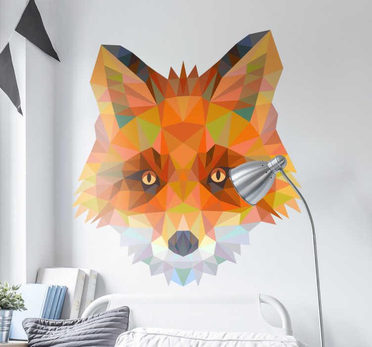 TenStickers. Muursticker geometrische 3D prisma vos. Dezemuurstickeris een modern enorigineelontwerp van een vos in 3D prismavorm.