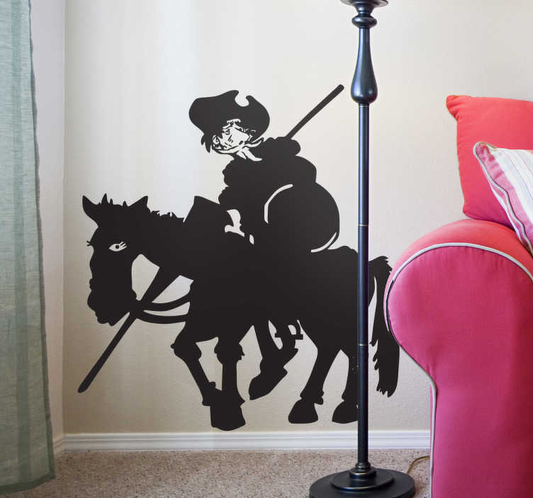 TenStickers. Don Quixote and Rocinante Silhouette Sticker. A creative and original silhouette decal illustrating the famous character in Cervantes's novel, Don Quixote and of course Rocinante.