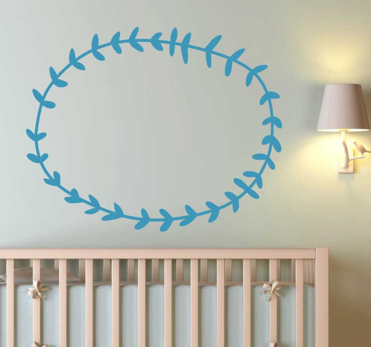 TenStickers. Wandtattoo Blätterkreis. Gestalten Sie das Babyzimmer mit diesem niedlichen Wandtattoo, im Design eines kreisförmigen Blätterkranzes. Eine niedliche Wandgestaltung