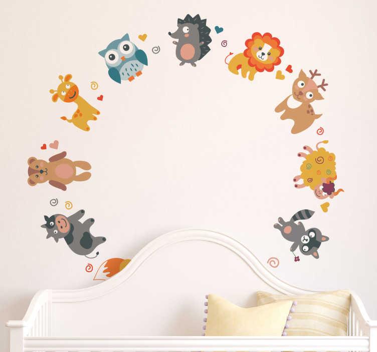 TenStickers. 동물 동그라미 벽 스티커. 어린이 동물 벽 스티커 - 다양 한 동물의 귀 엽 고 다채로운 삽화 동그라미에서. 자녀의 침실 꾸미기를위한 귀여운 동물 무늬.