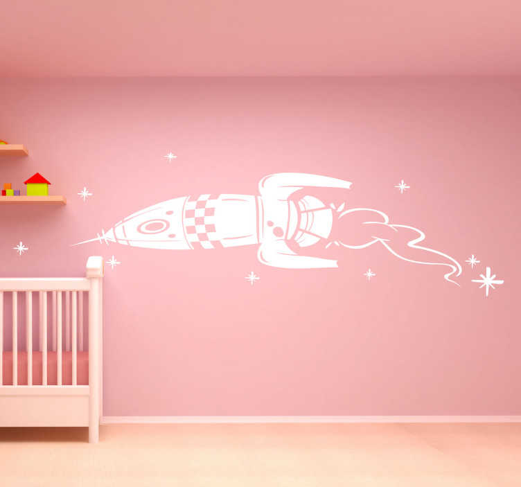 TenStickers. Kids Rocket Illustration Wall Sticker. Kids wall sticker of a space ship rocket flying through the stars, ideal for little space explorers. This monochrome rocket wall sticker is available in various sizes and in 50 different colours allowing you to fully customise to walls of your child's bedroom the way they like it.