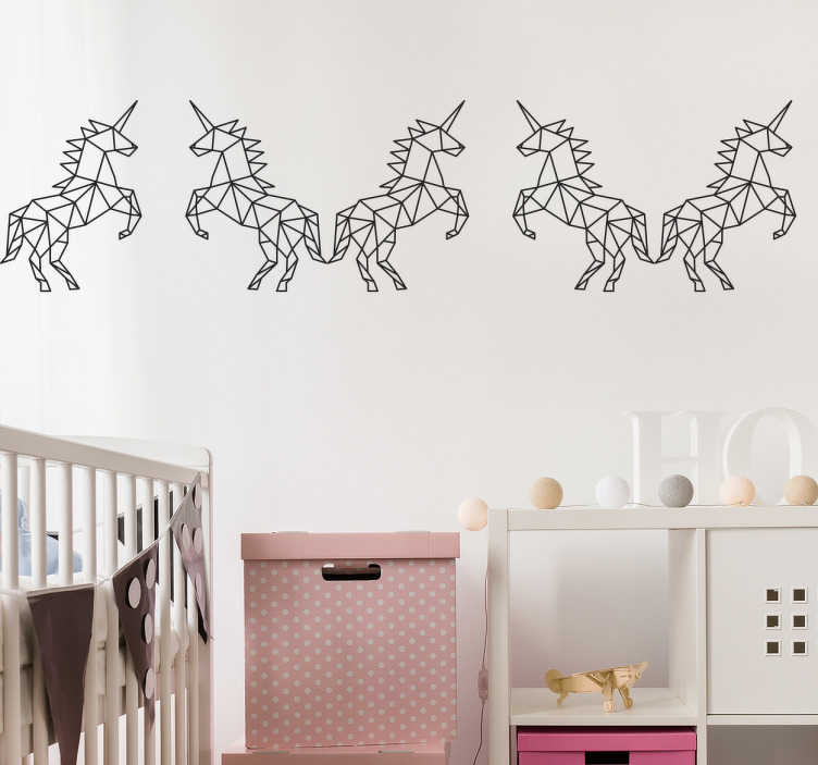 TenVinilo. Vinilo cenefa unicornio geométrico. Cenefa pared en adhesivo con la representación de varios unicornios, ideal para personalizar las paredes del cuarto de los más jóvenes de casa.