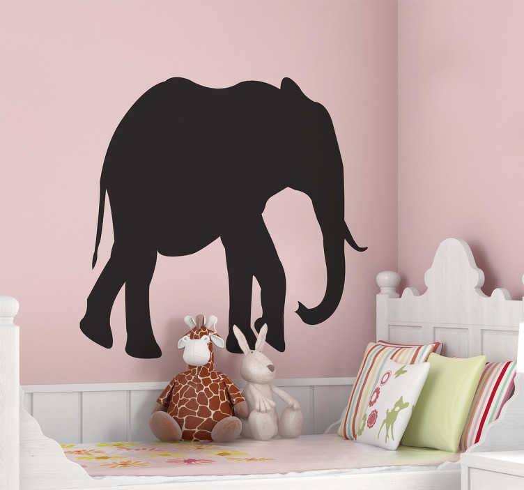 TenStickers. Elephant Chalkboard Wall Sticker. An original silhouette from our collection of elephant wall stickers that is also a chalkboard!  Can be used as a wall sticker for a schools or nurseries.
