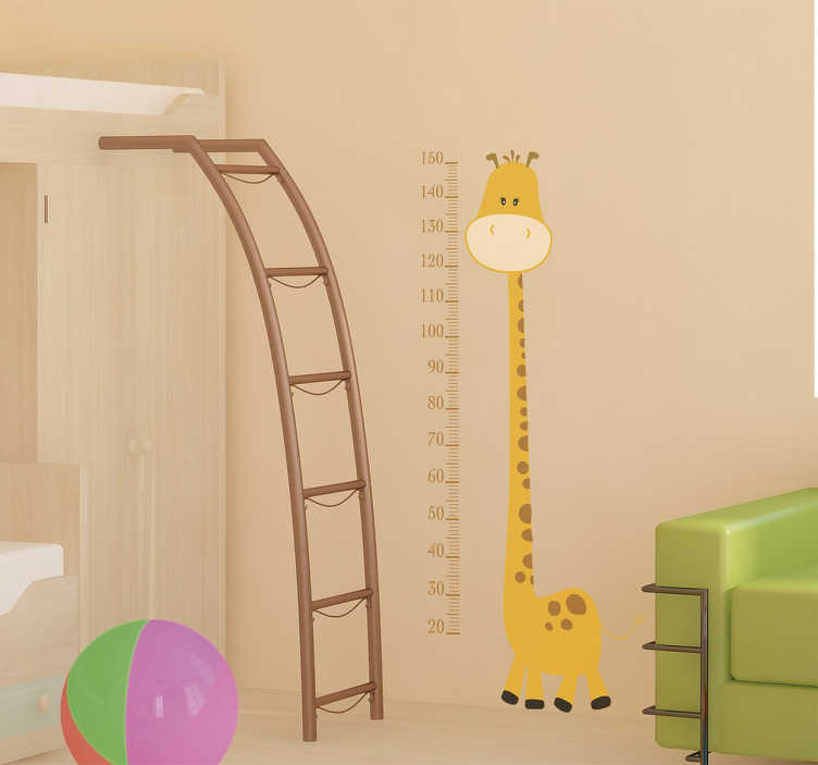 TenStickers. Sárga zsiráf magasság diagram gyerekek matrica. Eredeti zsiráf magasságdiagram falimatrica, amely ideális gyermeke magasságának mérésére, ideális gyermekszoba vagy óvoda díszítésére! A virguis kreatív és egyedi dizájnja.