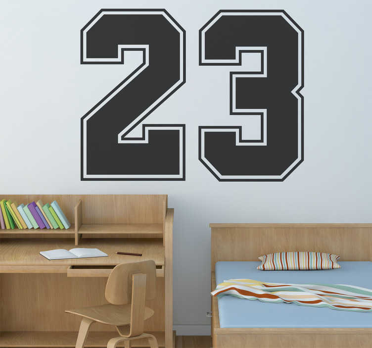 TenStickers. Jordan 23 Number Sticker. Sports Stickers - Chicago Bulls basketball legend Michael Jordan, number 23 on the team. A design from our number wall stickers set.
