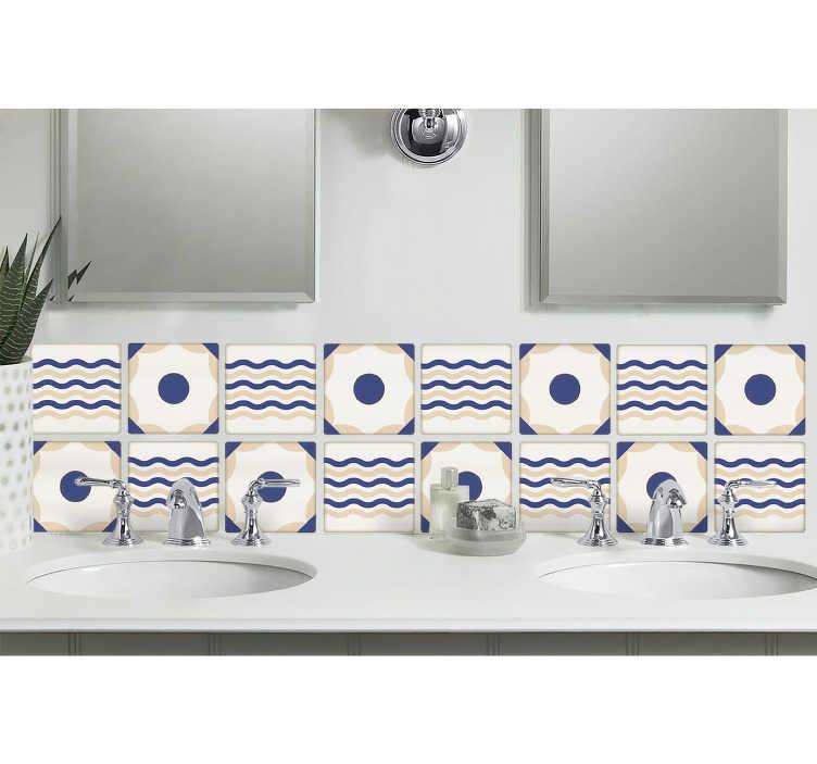 TenStickers. Adesivos azulejos autocolante de azulejo espanhol. Este produtode azulejo espanhol é perfeito para adicionar decoração à sua cozinha ou banheiro. O autocolante de azulejos de parede espanhol cria uma atmosfera náutica.