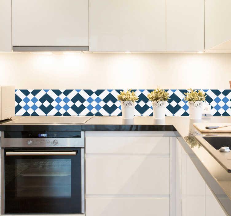 TENSTICKERS. リスボンスタイルのタイルボーダーステッカー. あなたの台所やバスルームのための幾何学的なタイルの境界ステッカー。この豪華な地中海のデザインは、実際に装飾を一緒にもたらすために青と白の色調で構成され、家の壁にスタイルのタッチを追加します。