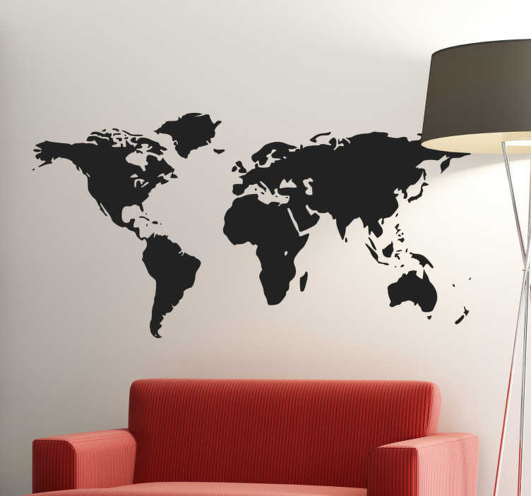 TenStickers. World Map Wall Sticker. A classic mono-colour world map sticker that is ideal for decorating any room in your home in an original way.