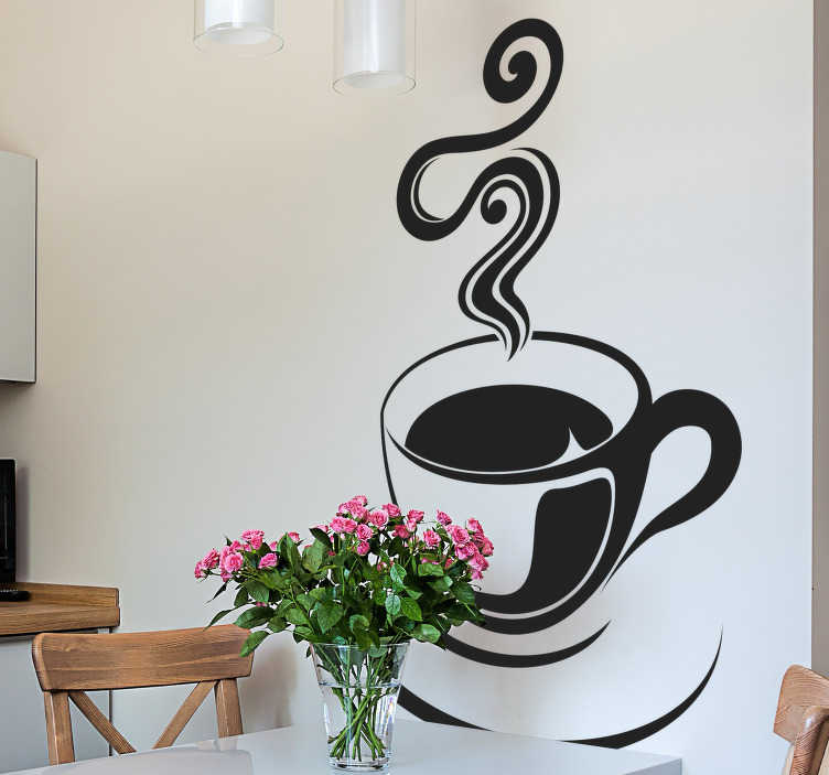 TenStickers. Café Coffee Cup Wall Sticker. An elegant and stylish design of a cup of hot coffee from our brilliant collection of coffee wall art stickers to decorate your coffee shop or home.