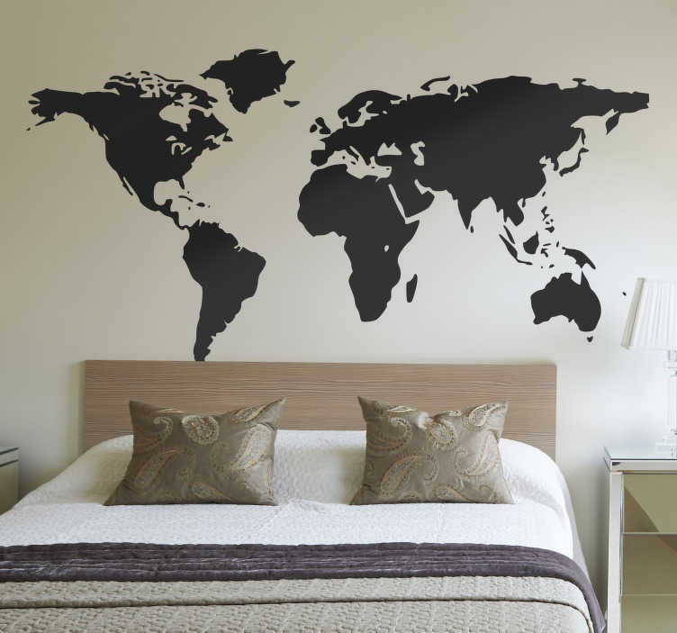 TenStickers. World Map Simplified Wall Sticker. A superb design of the world map to decorate your living. This world map sticker is perfect for those that love to travel and visit new places!
