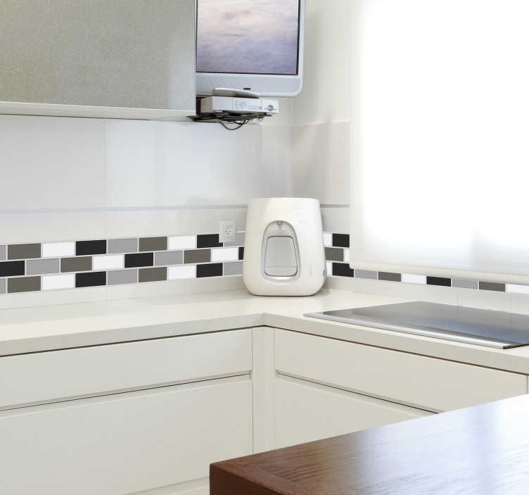 TenStickers. Fliesen in Grautönen Wandtattoo. Wandtattoo für das Badezimmer. Das Wandtattoo illustriert  gleich große, versetzte Fliesen, die Ihrem Badezimmer eine neue Atmosphäre verleihen.
