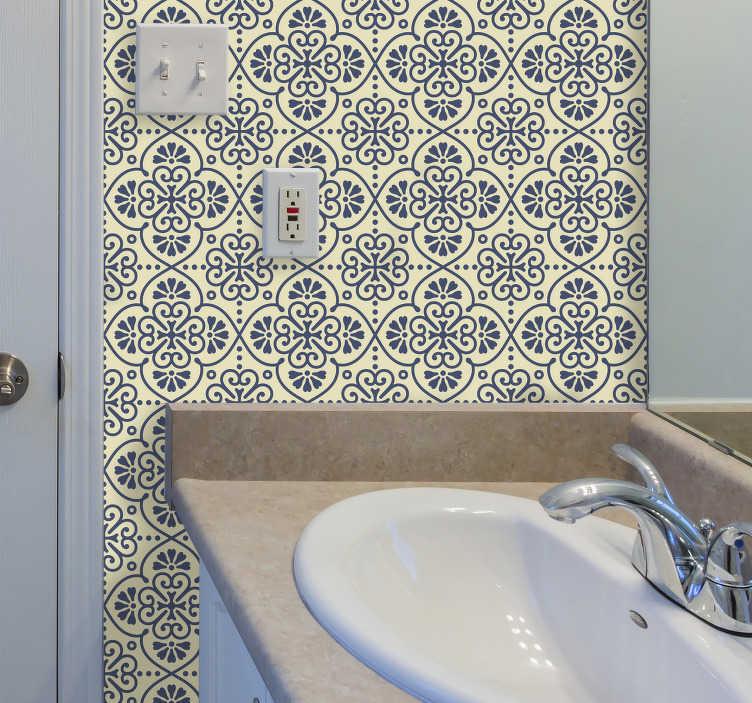 TenStickers. Reticolo orientale di piastrelle adesivo. Adesivo per pareti stile orientale per rivoluzionare i tuoi ambienti e renderli unici