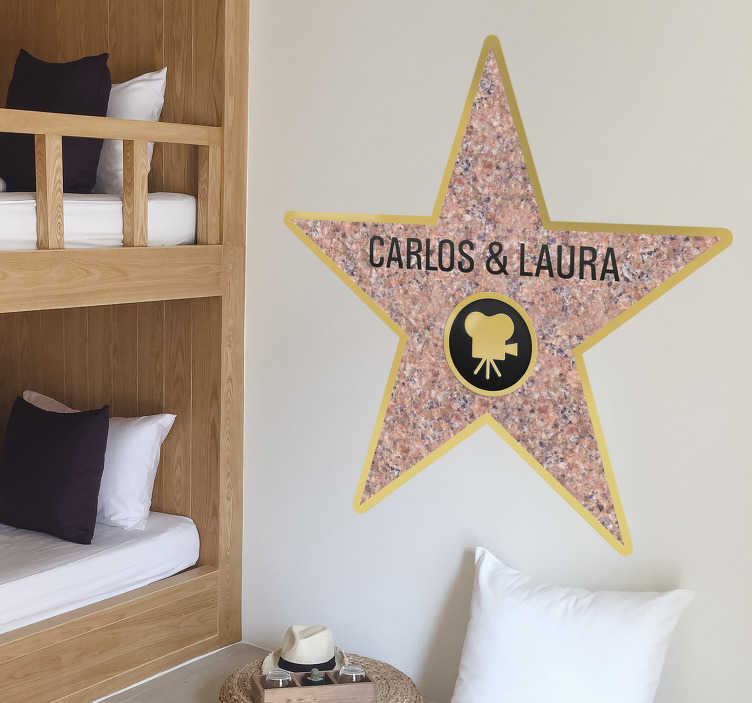TenStickers. Personalised Hollywood Wall Sticker. Are you already a superstar or a star in the making? A fantastic customisable design from our collection of star wall stickers that you will love!